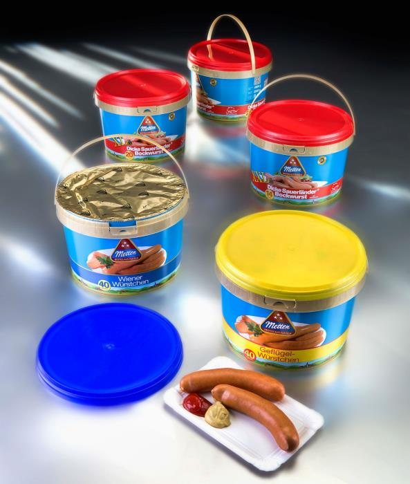 Bulk-pack sausages stay fresh in plastic pail from RPC Superfos